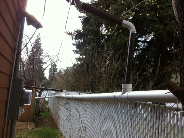 eavestroughs empty into PVC Pipe