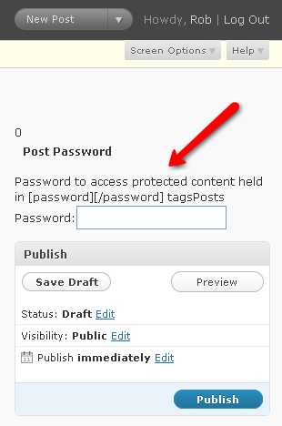 password protect part of post or page